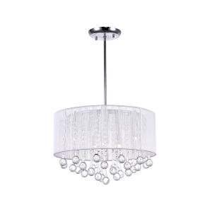 Water Drop Chrome Six-Light 14-Inch Chandelier with K9 Clear Crystal