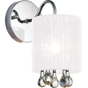 Water Drop Chrome One-Light 11-Inch Bath Vanity with K9 Clear Crystal