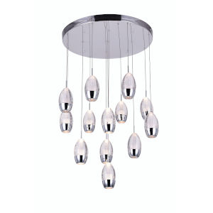 Perrier Chrome 13-Light 6-Inch Pendant with K9 Clear Crystal