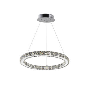Ring Chrome 15-Light LED 16-Inch Chandelier with K9 Clear Crystal