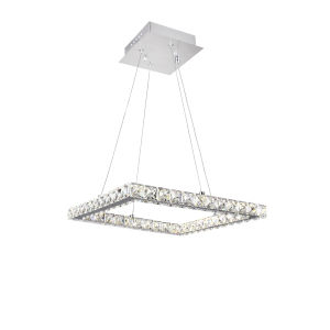 Ring Chrome 24-Light LED 20-Inch Chandelier with K9 Clear Crystal
