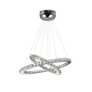 Ring Chrome 15-Light LED 24-Inch Chandelier with K9 Clear Crystal