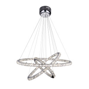 Ring Chrome Integrated LED Chandelier with K9 Clear Crystal