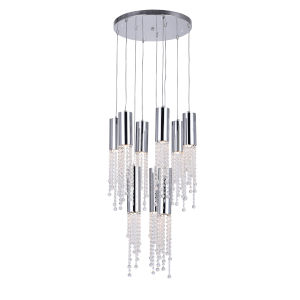 Extended Chrome Nine-Light Pendant with K9 Clear Crystal