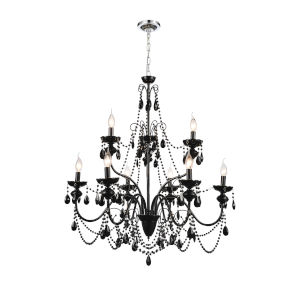 Keen Black Nine-Light Chandelier with K9 Black Crystal