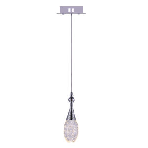 Dior Chrome Integrated LED Mini Pendant with K9 Clear Crystal