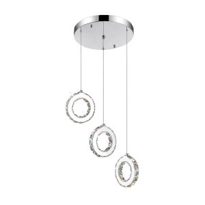 Ring Chrome 18-Light LED 16-Inch Pendant with K9 Clear Crystal