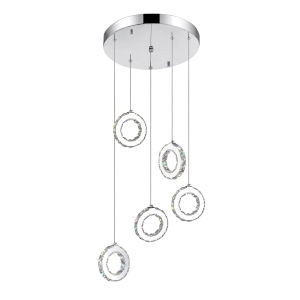 Ring Chrome 30-Light LED Pendant with K9 Clear Crystal