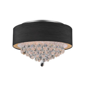 Dash Chrome and Black Four-Light 12-Inch Flush Mount with K9 Clear Crystal