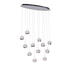 Perrier Chrome 12-Light 5-Inch Pendant with K9 Clear Crystal