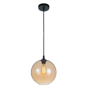 Black One-Light 10-Inch Pendant with Transparent Amber Glass
