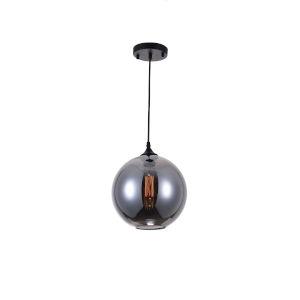 Black One-Light Pendant with Transparent Smoke Glass