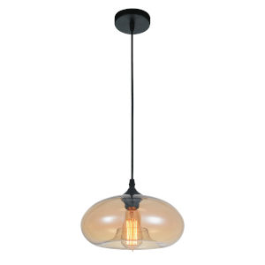 Black One-Light 6-Inch Pendant with Transparent Amber Glass