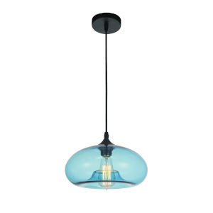 Black One-Light Pendant with Transparent Blue Glass