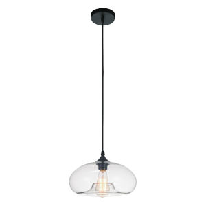 Black One-Light 6-Inch Pendant with Transparent Glass