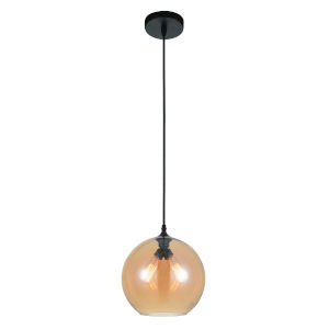 Black Two-Light 12-Inch Pendant with Amber Glass