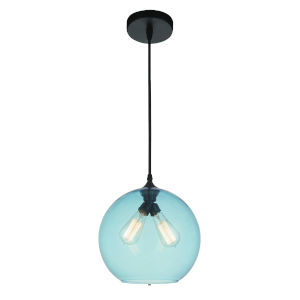 Black Two-Light 12-Inch Pendant with Blue Glass