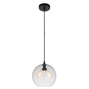 Black Two-Light 12-Inch Pendant with Clear Glass