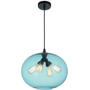 Black Four-Light 12-Inch Pendant with Blue Glass