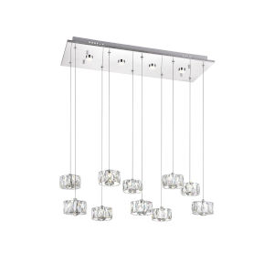 Milan Chrome 42-Light LED Pendant with K9 Clear Crystal