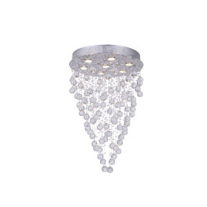 Rain Drop Chrome Seven-Light Flush Mount with K9 Clear Crystal