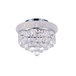Empire Chrome Three-Light 10-Inch Flush Mount with K9 Clear Crystal