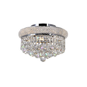 Empire Chrome Three-Light 12-Inch Flush Mount with K9 Clear Crystal