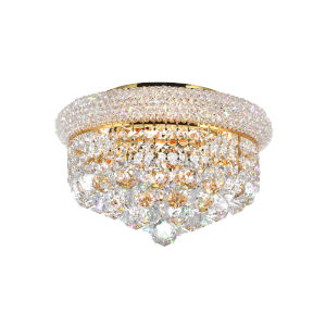 Empire Gold Four-Light Flush Mount with K9 Clear Crystal