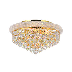 Empire Gold Eight-Light Flush Mount with K9 Clear Crystal