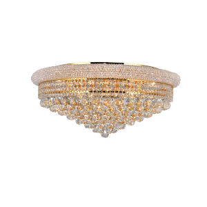 Empire Gold 15-Light Flush Mount with K9 Clear Crystal