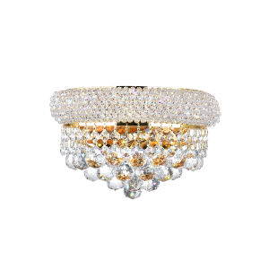 Empire Gold Two-Light Wall Sconce with K9 Clear Crystal