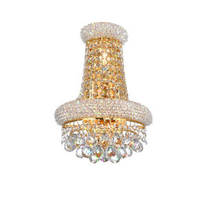 Empire Gold Three-Light Wall Sconce with K9 Clear Crystal