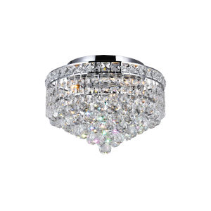 Luminous Chrome Three-Light Flush Mount with K9 Clear Crystal