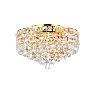 Luminous Gold Four-Light Flush Mount with K9 Clear Crystal