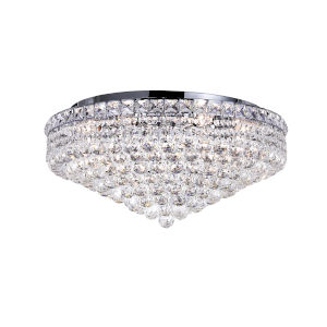 Luminous Chrome 12-Light Flush Mount with K9 Clear Crystal