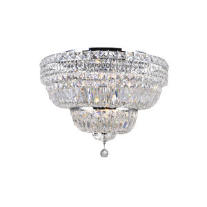 Stefania Chrome Nine-Light Flush Mount with K9 Clear Crystal