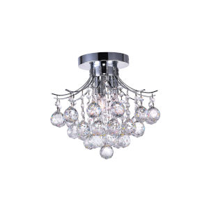 Princess Chrome Three-Light Flush Mount with K9 Clear Crystal