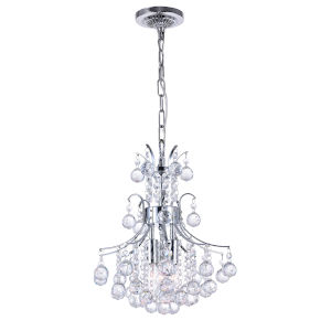 Princess Chrome Three-Light Chandelier with K9 Clear Crystal
