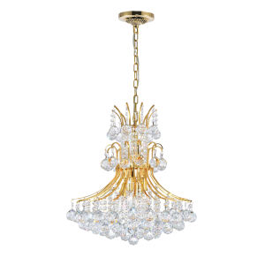 Princess Gold Eight-Light Chandelier with K9 Clear Crystal