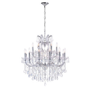 Maria Theresa Chrome 19-Light 30-Inch Chandelier with K9 Clear Crystal