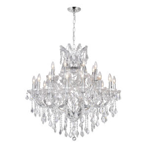 Maria Theresa Chrome 25-Light 36-Inch Chandelier with K9 Clear Crystal