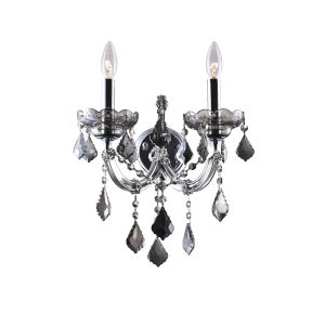 Maria Theresa Chrome Two-Light 14-Inch Wall Sconce with K9 Smoke Crystal