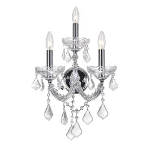 Maria Theresa Chrome Three-Light Wall Sconce with K9 Clear Crystal