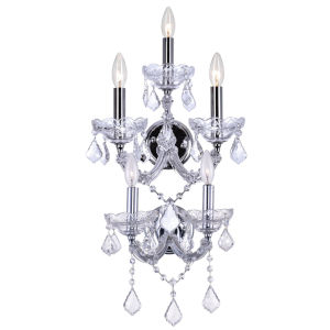 Maria Theresa Chrome Five-Light Wall Sconce with K9 Clear Crystal