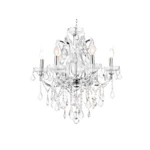 Maria Theresa Chrome Six-Light 24-Inch Chandelier with K9 Clear Crystal