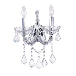 Maria Theresa Chrome Two-Light 15-Inch Wall Sconce with K9 Clear Crystal