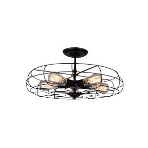 Pamela Black Five-Light Flush Mount