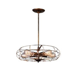 Pamela Antique Copper Five-Light Pendant