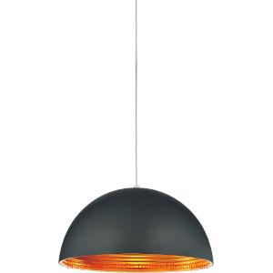 Modest Black One-Light 12-Inch Pendant with Black Shade