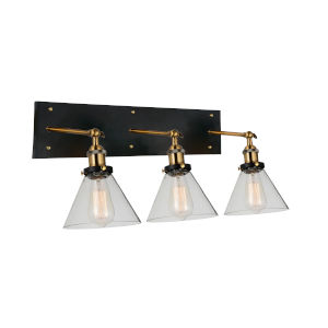 Eustis Black and Gold Brass Three-Light Wall Sconce
